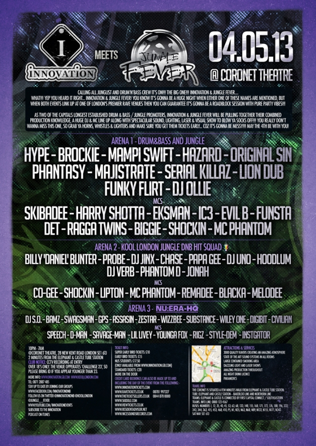 Innovation & Junlge Fever 4th May 2013 line up