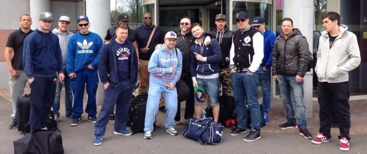 Belgium crew outside the hotel