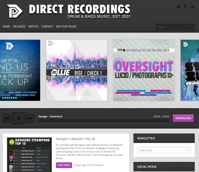 Direct Recordings website